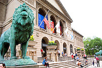 Lion sculpture in front of the Chicago Art Institute.  Chicago Illinois USA