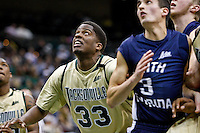 February 08, 2011:    Jacksonville Dolphins forward Chris Rozier (33) looks up for a rebound during Atlantic Sun Conference action between the Jacksonville Dolphins and the North Florida Ospreys at Veterans Memorial Arena in Jacksonville, Florida.  Jacksonville defeated North Florida 71-69.