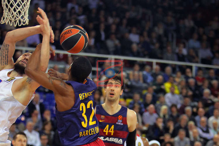 Turkish Airlines Euroleague 2016/2017.<br /> Regular Season - Round 24.<br /> FC Barcelona Lassa vs CSKA Moscow: 61-85.<br /> Nikita Kurbanov vs Alex Renfroe.