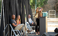 Ella Turenne, Associate Dean of Students and Director, Student Leadership, Involvement and Community Engagement<br /> The O-Team cheers for parents and students at the Welcome to Oxy event at the Remsen Bird Hillside Theater (Greek Bowl) as part of the official Orientation welcome. Incoming first-years and their families are welcomed by enthusiastic O-Team members and other members of the community during Occidental College's Fall move-in and orientation for the class of 2023, Aug. 22, 2019.<br /> (Photo by Marc Campos, Occidental College Photographer)