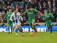 Watford's skipper Troy Deeney (right) under pressure from Brighton & Hove Albion's Martin Montoya (left) <br /> <br /> Photographer David Horton/CameraSport<br /> <br /> The Premier League - Brighton and Hove Albion v Watford - Saturday 2nd February 2019 - The Amex Stadium - Brighton<br /> <br /> World Copyright © 2019 CameraSport. All rights reserved. 43 Linden Ave. Countesthorpe. Leicester. England. LE8 5PG - Tel: +44 (0) 116 277 4147 - admin@camerasport.com - www.camerasport.com