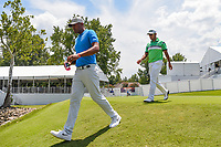 Tony Finau (USA) and Hideki Matsuyama (JPN) make their way down 13 during round 2 of the WGC FedEx St. Jude Invitational, TPC Southwind, Memphis, Tennessee, USA. 7/26/2019.<br /> Picture Ken Murray / Golffile.ie<br /> <br /> All photo usage must carry mandatory copyright credit (© Golffile | Ken Murray)