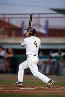 Burlington Bees second baseman Tim Arakawa (4) at bat during a game against the Clinton LumberKings on August 20, 2015 at Community Field in Burlington, Iowa.  Burlington defeated Clinton 3-2.  (Mike Janes/Four Seam Images)