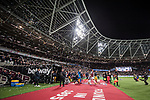 West Ham United 0 Brighton & Hove Albion 3, 20/10/2017. London Stadium, Premier League. The teams enter the field. Bubbles fill the night air. Photo by Simon Gill.
