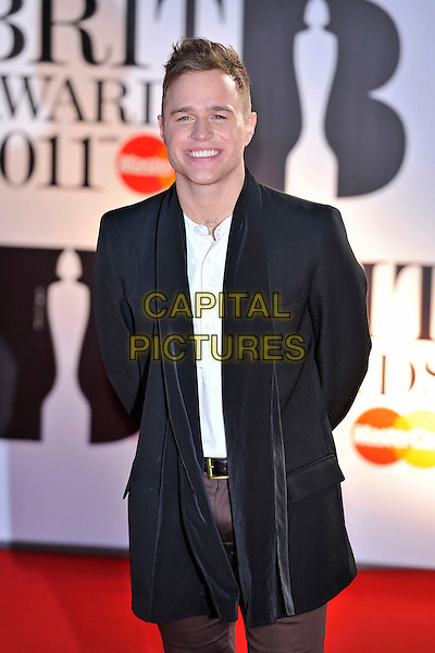 OLLY MURS.The BRIT Awards 2011 at the O2 Arena, London, England..February 15th, 2011.brits half length black jacket white top .CAP/MAR.© Martin Harris/Capital Pictures.