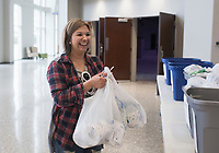 """Carlinda Pacheco of Bentonville reacts after picking up donations of toilet paper from Lead Pastor Mark Snodgrass (not pictured), Monday, March 16, 2020 at the Bentonville Community Church in Bentonville. Pacheco, a member of SOCO Church, spent the day picking up bags to distribute to people at her own church. She said she was motivated to do this after seeing empty shelves at 19 different stores she visited in search of toilet paper. """"My husband says I'm the toilet paper dealer,"""" she said jokingly. Check out nwaonline.com/200317Daily/ for today's photo gallery.<br /> (NWA Democrat-Gazette/Charlie Kaijo)<br /> <br /> Lead Pastor Mark Snodgrass donated rolls of church surplus toilet paper after finding the shelves empty over the weekend following recent updates on the coronavirus.<br /> <br /> """"I remembered we had gotten a shipment of toilet paper. It's not gonna do us any good sitting in a closet, he said adding that the church had moved it Sunday services online.<br /> <br /> He said several people had stopped by to pick up some rolls and one person even picked up rolls to distribute to others at another church. In addition, he said as many people stopped by to donate rolls.<br /> <br /> """"People have donated about 100 rolls today. I've almost received as much as I've donated,"""" he said. """"We're a church and we believe this kingdom that christ invites us to is a kingdom of abundance. When we give we find he continues to give and bless us. We want to model that for our community. We're gonna get through this."""""""