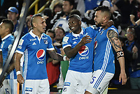 BOGOTA - COLOMBIA -04 -06-2017: Andres Cadavid (Der) de Millonarios celebra después de anotar un gol a Atlético Bucaramanga durante partido de vuelta por los cuadrangulares finales de la Liga Aguila I 2017 jugado en el estadio Nemesio Camacho El Campin de la ciudad de Bogota. / Andres Cadavid (R) of Millonarios celebrates after scoring a goal to Atletico Bucaramanga during secong leg match for the final quadrangulars of the Liga Aguila I 2017 played at the Nemesio Camacho El Campin Stadium in Bogota city. Photo: VizzorImage / Gabriel Aponte / Staff.