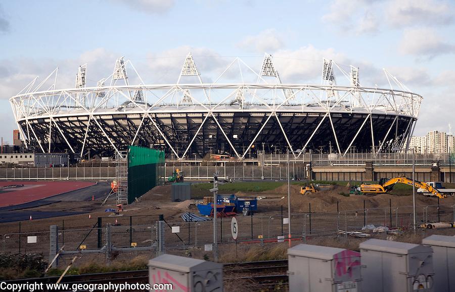 2012 London Olympic stadium under construction in December 2011, England