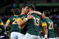Jesse Kriel of South Africa  is congratulated on his try. Rugby World Cup Pool B match between South Africa and the USA on October 7, 2015 at The Stadium, Queen Elizabeth Olympic Park in London, England. Photo by: Patrick Khachfe / Onside Images