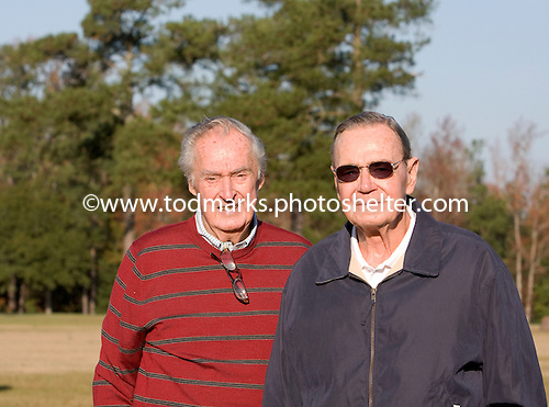 Retired racing officials Tommy Trotter and Bob Quigley take in the gallops at Springdale Race Course in Camden, S.C., on Nov. 20, 2009, the day before the Colonial Cup Steeplechase.