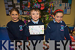Pupils at Ardfert National School  have been busy making Christmas cards to sell to family and friends to raise funds for the school. .L-R Victoria Wielogorska,  Daniel Murphy and Sinead O'Mahony