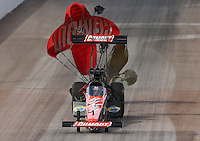 Feb 21, 2015; Chandler, AZ, USA; NHRA top fuel driver Leah Pritchett during qualifying for the Carquest Nationals at Wild Horse Pass Motorsports Park. Mandatory Credit: Mark J. Rebilas-