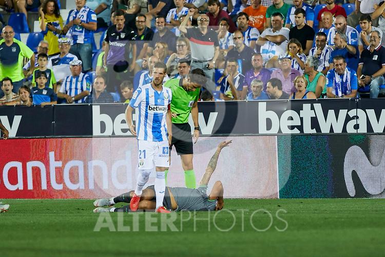 Leganes' Ruben Perez and Real Sociedad's Theo Hernandez during La Liga match. August 24, 2018. (ALTERPHOTOS/A. Perez Meca)