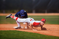 Ball State Cardinals second baseman Seth Freed (1) looks to first after turning a double play as David Gulati (17) slid into second base during a game against the Villanova Wildcats on March 3, 2017 at North Charlotte Regional Park in Port Charlotte, Florida.  Ball State defeated Villanova 3-1.  (Mike Janes/Four Seam Images)