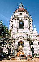 Pasadena CA: Pasadena City Hall--from garden.  Photo '87.