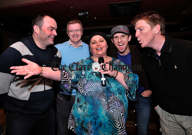 Julianne Dineen with Clare Hurling's Anthony Daly, Brian Lohan, Tony Griffin and Niall Gilligan at the Launch of Celebrity X Factor. Photograph by Declan Monaghan