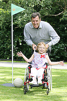 NO REPRO FEE 9/8/2010.SBHI Golf Classic. Irish sporting legend Packie Bonner is pictured at the launch of the SBHI Golf Classic with  Brooklyn Kerley from Dundalk and aged 7. The Golf Classic will take place at Palmerstown House Estate, at Johnstown, County Kildare on Friday, 27th of August.  All proceeds will go to SBHI (Spina Bifida Hydrocephalus Ireland) Picture James Horan/Collins