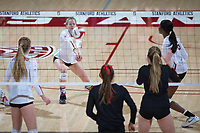 STANFORD, CA - November 15, 2017: Meghan McClure, Jenna Grayat Maples Pavilion. The Stanford Cardinal defeated USC 3-0 to claim the Pac-12 conference title.