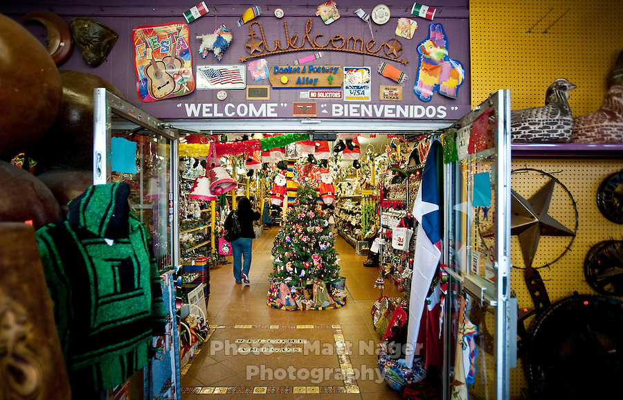 A Mexican import store welcomes both Spnaish and English speakers in Laredo, Texas, Tuesday, Dec., 8, 2009. Laredo's population is strongly Spanish speaking with over 95% being Hispanic...PHOTOS/ MATT NAGER