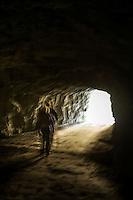 Switzerland, Canton Valais, Val d'Hérémence: hiking trail along reservoir Lac des Dix (2.364 m) passing some tunnel | Schweiz, Kanton Wallis, Val d'Hérémence: der Wanderweg entlang des Stausees Lac des Dix (2.364 m) fuehrt auch durch einige Tunnel