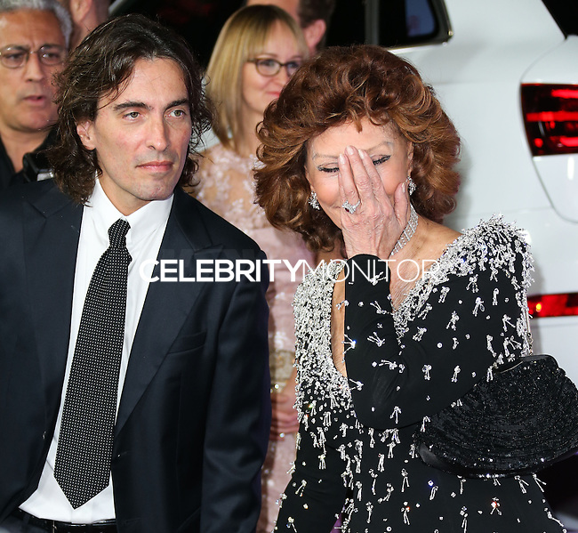HOLLYWOOD, LOS ANGELES, CA, USA - NOVEMBER 12: Carlo Ponti Jr., Sophia Loren arrive at the AFI FEST 2014 - Special Tribute To Sophia Loren held at the Dolby Theatre on November 12, 2014 in Hollywood, Los Angeles, California, United States. (Photo by Xavier Collin/Celebrity Monitor)
