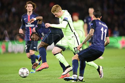 06.04.2016. Paris, France. UEFA CHampions League, quarter-final. Paris St Germain versus Manchester City.  Serge Aurier (PSG) checks Kevin De Bruyne (Manchester City)