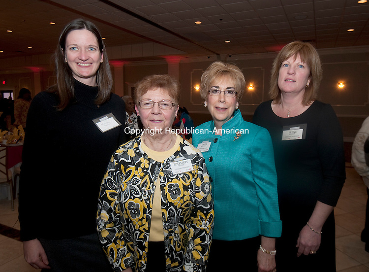 WATERBURY,  CT,  CT-032415JS06- Board members for the Children's Community School, from left, Melissa Medeiros; Board President Rosemary Tessier; Gayle Martino and Irene Belden at the Children's Community School's annual awards dinner held at La Bella Vista at the Pontelandolfo Club in Waterbury. <br /> Jim Shannon Republican-American