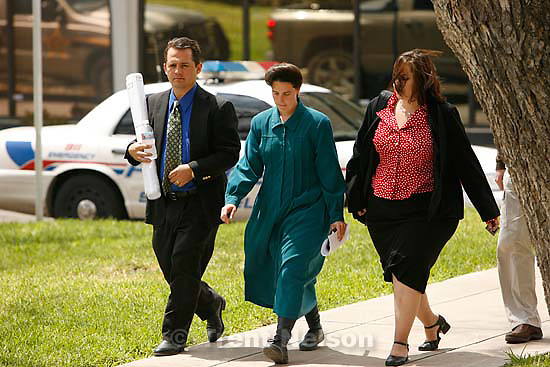 """San Angelo -  A hearing at the 51st District Court Wednesday, April 9, 2008, where a judge ruled three members of the FLDS polygamous sect have the legal right to challenge the massive search underway on their property near Eldorado, the YFZ """"Yearning for Zion"""" Ranch.; 04.09.2008"""