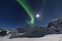Aurora Borealis -- Northern Lights in the Ruth Glacier and Amphitheater in the Alaska Range.  Winter   Full moon <br /> <br /> Photo by Jeff Schultz/SchultzPhoto.com  (C) 2017  ALL RIGHTS RESERVED