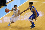 07 March 2015: North Carolina's Marcus Paige (5) and Duke's Quinn Cook (right). The University of North Carolina Tar Heels played the Duke University Blue Devils in an NCAA Division I Men's basketball game at the Dean E. Smith Center in Chapel Hill, North Carolina. Duke won the game 84-77.
