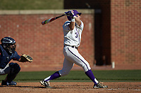 Tim Mansfield (3) of the High Point Panthers follows through on his swing against the NJIT Highlanders at Williard Stadium on February 19, 2017 in High Point, North Carolina. The Panthers defeated the Highlanders 6-5. (Brian Westerholt/Four Seam Images)