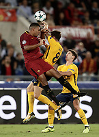 Football Soccer: UEFA Champions League AS Roma vs Atletico Madrid Stadio Olimpico Rome, Italy, September 12, 2017. <br /> Roma's Juan Jesus (l) in action with Atletico Madrid's Saul Niguez (c) and Luciano Vietto (r) during the Uefa Champions League football soccer match between AS Roma and Atletico Madrid at at Rome's Olympic stadium, September 12, 2017.<br /> UPDATE IMAGES PRESS/Isabella Bonotto