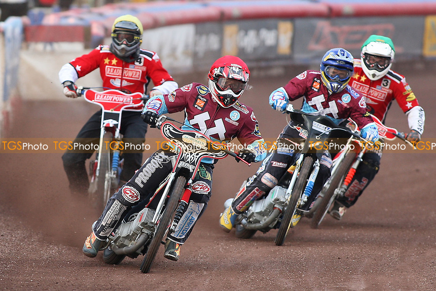 Heat 3: Adam Shields (red), Jonas Davidsson (blue), Henning Bager (yellow) and Mads Korneliussen - Lakeside Hammers vs Peterborough Panthers - Sky Sports Elite League Speedway at Arena Essex Raceway - 19/06/09- MANDATORY CREDIT: Gavin Ellis/TGSPHOTO - Self billing applies where appropriate - 0845 094 6026 - contact@tgsphoto.co.uk - NO UNPAID USE.