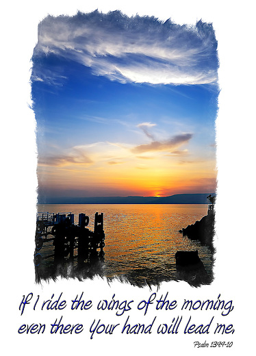 Inspirational image of the Sea of Galilee at sunrise in Tiberius, Israel