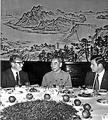 Beijing, China - October 20, 1971 -- Banquet given by Chou En-lai, Premier of the People's Republic of China for the American party in the Great Hall of the People in Beijing, China on October 20, 1971.  Left to right: Henry A. Kissinger, Assistant to the President [of the United States] for National Security Affairs; Chou En-lai; and Dwight L. Chapin, Deputy Assistant to the President [of the United States]..Credit: White House via CNP