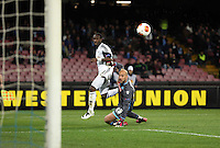 Thursday 27 February 2014<br /> Pictured L-R: Marvin Emnes of Swansea in a near miss to score a goal against Pepe Reina goalkeeper for Napoli<br /> Re: UEFA Europa League, SSC Napoli v Swansea City FC at Stadio San Paolo, Naples, Italy.