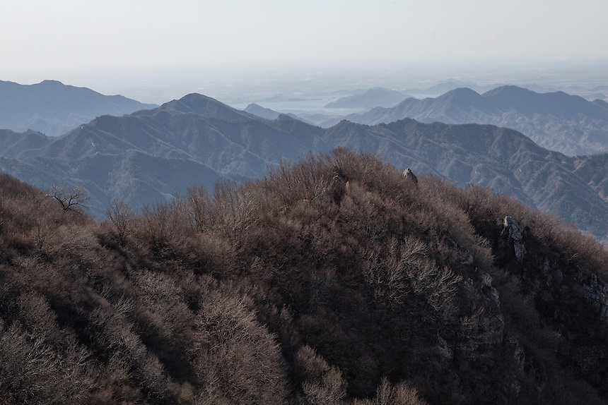 The steep and mountainous terrain around Jiankou Great Wall.
