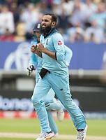 Adil Rashid (England) celebrates the wicket of Alex Carey (Australia) during Australia vs England, ICC World Cup Semi-Final Cricket at Edgbaston Stadium on 11th July 2019