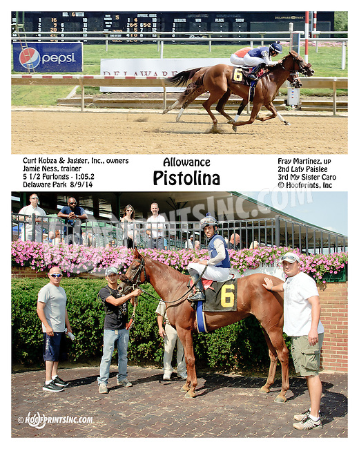 Pistolina winning at Delaware Park on 8/9/14