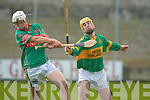 AIB COUNTY SENIOR HURLING CHAMPIONSHIP LOSERS ROUND.LIXNAW 2-12 CROTTA O'NEILLS 1-10.AT A STRETCH: Crotta full.back Cyril Lynch gets his.clearance away before Lixnaw's.Raymond Galvin can.hook.