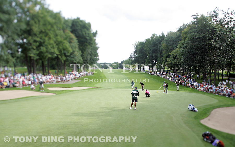 30 July 2009: Tiger Woods, center in pink, reads a putt on the 16th green in round one of the Buick Open PGA Tour golf tournament, at Warwick Hills Golf & Country Club, in Grand Blanc, MI...***** Editorial Use Only *****