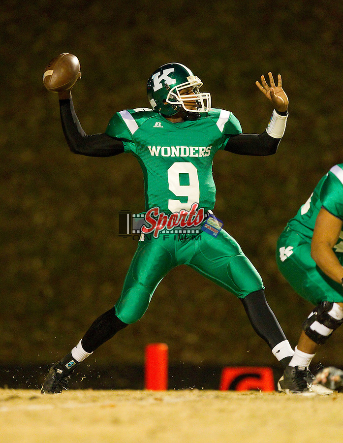 Martel Campbell (9) of the A.L. Brown Wonders passes the ball against the Charlotte Catholic Cougars at A.L. Brown High School on November 26, 2010 in Kannapolis, North Carolina.  The Cougars defeated the Wonders 45-7.  (Brian Westerholt/Sports On Film)
