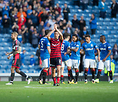 9th September 2017, Ibrox Park, Glasgow, Scotland; Scottish Premier League football, Rangers versus Dundee; Dundee's captain Cammy Kerr applauds the traveling support at the end