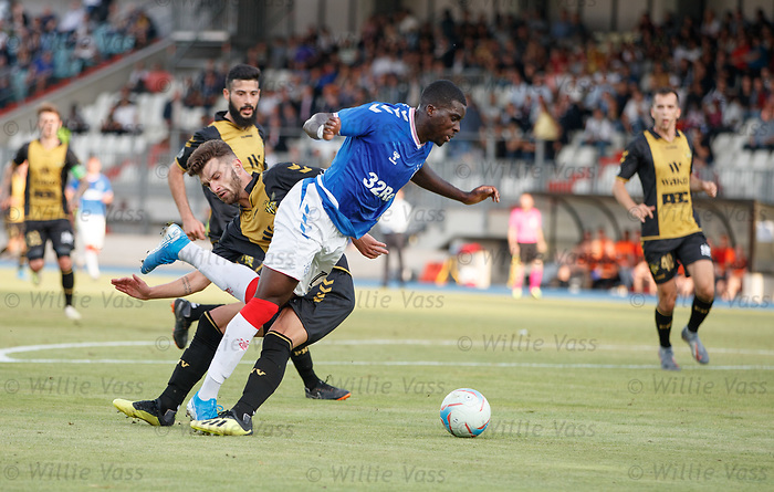 01.08.2019 Progres Niederkorn v Rangers: Sheyi Ojo tripped in the box by Tim Hall