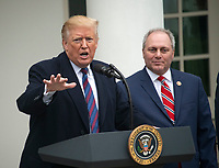 United States President Donald J. Trump, left, makes a statement following his meeting with Democratic leaders in the Situation Room of the White House in Washington, DC in an effort to break the political impasse on border security and reopen the federal government on Friday, January 4, 2018.  The President also took questions from reporters.  At right is US House Minority Whip Steve Scalise (Republican of Louisiana).<br /> Credit: Ron Sachs / CNP/AdMedia/AdMedia