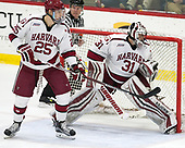 Wiley Sherman (Harvard - 25), Merrick Madsen (Harvard - 31) - The Harvard University Crimson defeated the Yale University Bulldogs 6-4 in the opening game of their ECAC quarterfinal series on Friday, March 10, 2017, at Bright-Landry Hockey Center in Boston, Massachusetts.