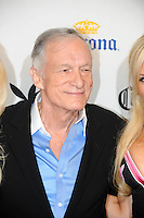 "Playboy Magazine founder Hugh Hefner poses at Playboy's ninth annual ""Super Saturday Night""  party in at Playboy's Desert Oasis and Resort in Chandler, Arizona Saturday February 2, 2008.   (Photo by Alan Greth)"