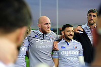 Matt Garvey of Bath Rugby speaks to team-mates in a post-match huddle. Aviva Premiership match, between Exeter Chiefs and Bath Rugby on October 30, 2016 at Sandy Park in Exeter, England. Photo by: Patrick Khachfe / Onside Images