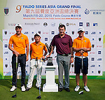 Group 14 pose with Sir Nick Faldo prior to day 3 of the 9th Faldo Series Asia Grand Final 2014 golf tournament on March 20, 2015 at Faldo course in Mid Valley Golf Club in Shenzhen, China. Photo by Xaume Olleros / Power Sport Images