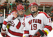 Marshall Everson (Harvard - 21), Alex Killorn (Harvard - 19) - The Harvard University Crimson defeated the St. Lawrence University Saints 4-3 on senior night Saturday, February 26, 2011, at Bright Hockey Center in Cambridge, Massachusetts.